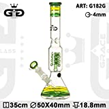 Bong in vetro Grace Glass GG bong G340BL - Percolatore + Splashguard breaker - 35cm Ø 55mm - Blu