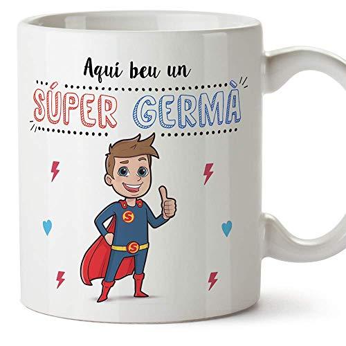 """MUGFFINS Taza Hermano (En Catalán) -""""Aquí beu un Súper Germà"""" - Taza Desayuno/Idea Regalo Cumpleaños para Hermanitos. Cerámica 350 mL"""