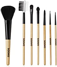 Amazon Brand - Solimo Makeup Brushes with Wooden Handle, Set of 7