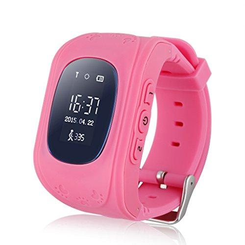 Excelvan Q50 - Smartwatch Reloj Infantil Pulsera Inteligente Localizador (GPS, LBS, SOS Llamada SIM Para Android IOS) Rojo