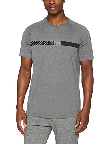 PUMA Herren Active Tec Tee T-Shirt, Medium Gray Heather, XL (Raglan Herren Puma)
