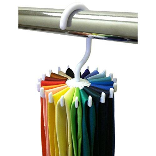 LEORX 20 Kleiderbügel Kunststoff Tie, Fell Schal Hanger Rack Mens Gürtel Veranstalter, 360 Grad Rotating(White)