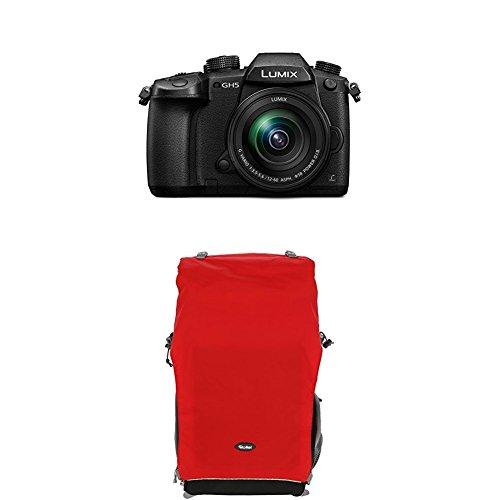 Panasonic Lumix DC-GH5MEG-K Systemkamera (20 Megapixel, DUAL IS Bildstabilisator, 4K60p Videoaufname, 4K & 6K Serienbilder, Hybrid Kontrast AF, wetterfestes Magnesiumgehäuse, mit Objektiv Lumix G VARIO 12-60mm/F3.5-5.6 ASPH) Schwarz+Rollei Traveler Fotorucksack Canyon XL Red