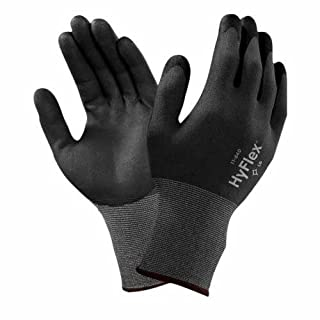 Ansell HyFlex 11-840 Multi-purpose gloves, mechanical protection, Black, Size 7 (Pack of 12 pairs)-Grey
