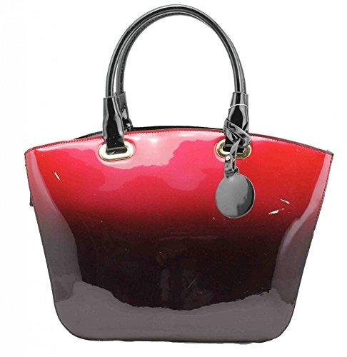 LeahWard® Damen Mode Essener Berühmtheit Patent Tragetasche Damen Qualität Kunstleder Shinny Bote Schulter Handtaschen CWRD131172 CWRD150131 (150131-Red)