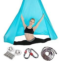 JIALFA Aerial Hamaca de Yoga, Silk Yoga Swing para Yoga antigravedad, Ejercicios de inversión, Flexibilidad Mejorada y Resistencia del núcleo - Accesorios de Montaje incluidos (Azul Claro)