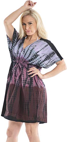 LA LEELA Handgemachter Tie Dye Kurze Mini Kordelzug Boho Damen Strandponcho Sommer Kleid Überwurf Kaftan Strandkleid Bikini Tunika Cover Up Violett_Y679 -