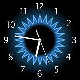 Wallario Glas-Uhr Echtglas Wanduhr Motivuhr • in Premium-Qualität • Größe: 30x30cm • Motiv: Flamme Gasherd Bei Nacht