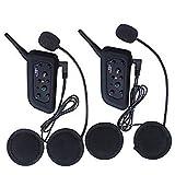 Excelvan 2X V6 Pro Bluetooth Moto Intercom Moto Interphone Casque Bluetooth Moto pour 6 Coureurs Casque 1200m pour l'équitation et Le Ski