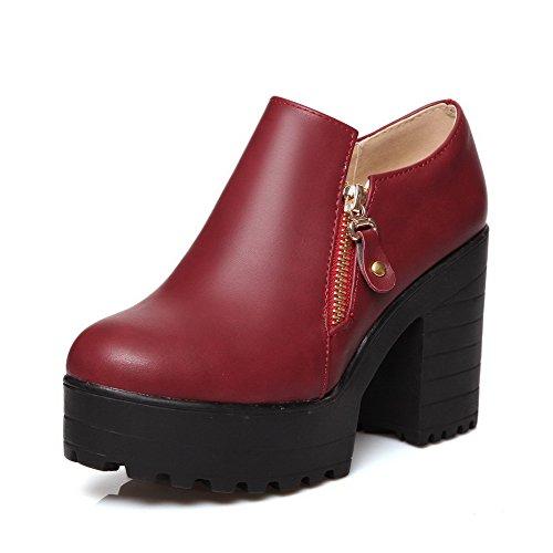 AgooLar Femme Matière Souple Zip Rond à Talon Haut Couleur Unie Chaussures Légeres Rouge Vineux