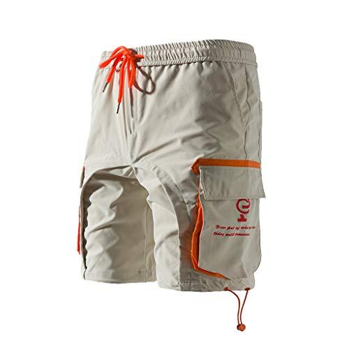 Cargo Shorts Herren Chino Kurze Hose Sommer Bermuda Sport Jogging Training Stretch Shorts Fitness Vintage Regular Fit Sweatpants Baumwolle Qmber Reine Farbe Button Pocket Overalls Overalls(Beige,2XL) -