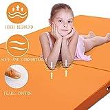 Tappetino Pieghevole GUORRUI Tappetino per Ginnastica Artistica Yoga Tappeto per Arti Marziali Impermeabile Domestico Pieghevole Morbido Cotone Perlato, 6 Taglie (Color : Orange, Size : 50x150x5cm)