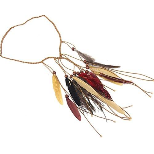 Yogogo Femmes BohéMien Plume Bandeau Coiffe Hippie Accessoires Pour Cheveux (Beige)