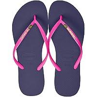 Havaianas Slim Brasil Logo, Women's Slippers, Blue (Navy Blue), 37/38 EU