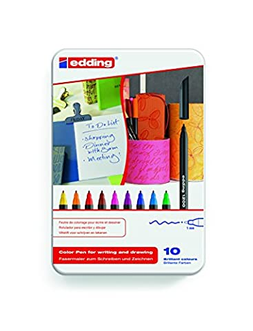 edding 4-1200-10 Fasermaler Color Pen, 10er Set, 0.5 - 1 mm, Sortiert