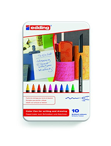edding 4-1200-10 Fasermaler Color Pen, 10er Set, 0.5 - 1 mm, Sortiert