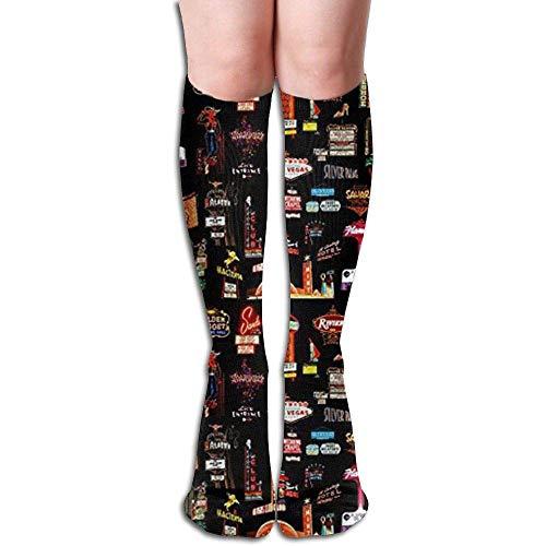 Las Vegas Kompressionsstrümpfe, Kniehohe Socken, witzige Socken, für Damen und Herren, geeignet für Medizin, Sport, Laufen, Krankenschwestern, Mutterschaft, Schwangerschaft, Reisen und Flugreisen