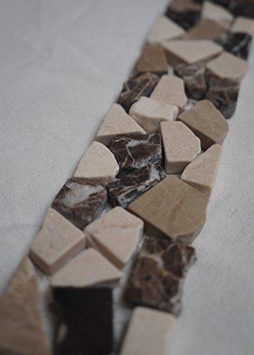 Bruchstein Mosaik Bordüre 5x30 cm Naturstein Fliesen Emperador Braun Crema Marfil Creme Beige B483 -