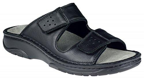 Herren Pantolette schwarz BERKEMANN Klettverschluss aus Leder Größe 7,5 bis 9,5 Schwarz