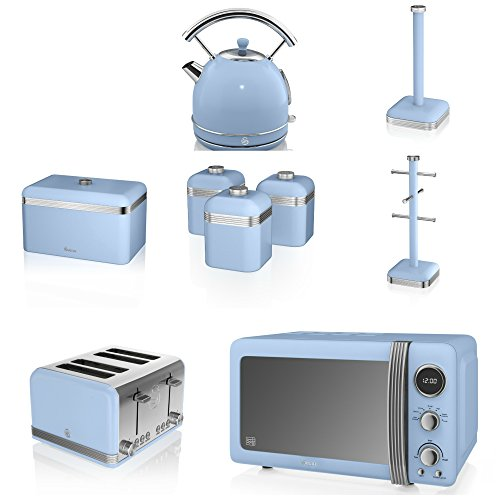 Swan Blue Kitchen Appliance Retro Set Of 9 - Blue Retro Digital Microwave, 20 Litre, 800 Watt, Blue 1.7 Litre Dome Kettle & Blue Retro Stylish 4 Slice Toaster, Retro Bread Bin, 3 Canisters, Towel Pole And 6 Mug Tree Set