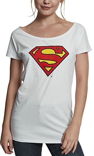 MERCHCODE Damen Superman Logo Tee T-Shirt White L
