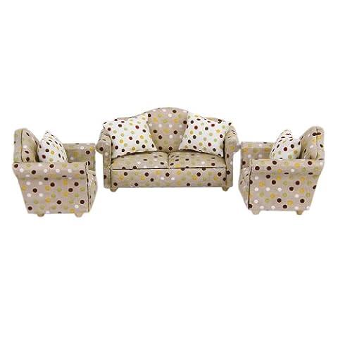 Ensemble 3 Sofa avec 4 Coussins Mobilier Miniature pour 1/12 Échelle Maison de Poupée