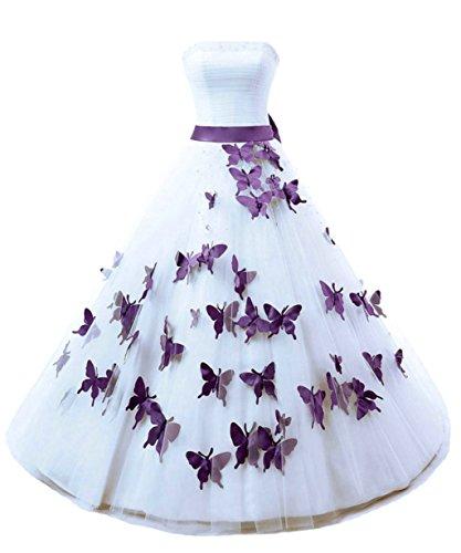 Vantexi Damen Trägerlos Lang Ballkleider Perlen Brautkleid Hochzeitskleider Weiß & Lila Größe 52
