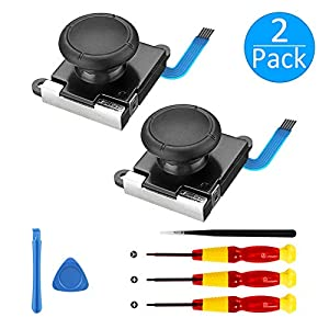 [Neue Version] 2 Pack 3D Ersatz Joystick Analog Thumb Stick für Nintendo Switch Joy-Con Controller – Include Tri -Wing && Screwdriver Tool