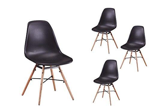 Usinestreet Lot de 4 Chaises scandinaves LUNA Coque plastique et pieds bois - Couleur - Noir