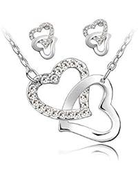 Swarovski Elements Set zwei Halskette und Ohrringe White Crystal verflochtene Herzen
