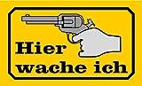 Schild Alu Hier wache ich Gewehr gelb/schwarz 120x200mm