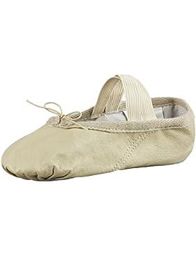 tanzmuster Ballettschuhe / Ballettschläppchen aus Leder, ganze Sohle, für Kinder und Erwachsene in sandfarben...
