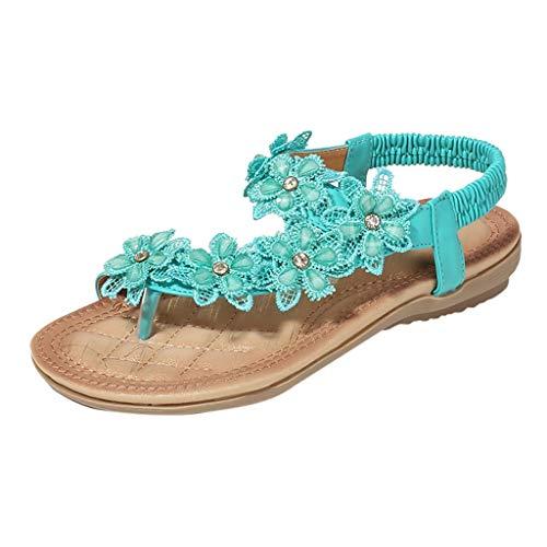 Mitlfuny Damen Sommer Sandalen Bohemian Flach Sandaletten Sommer Strand Schuhe,Sommer-Frauen-Damen-Böhmen-elastische Kristallblumen-Flache Sandelholz-Strand-Schuhe