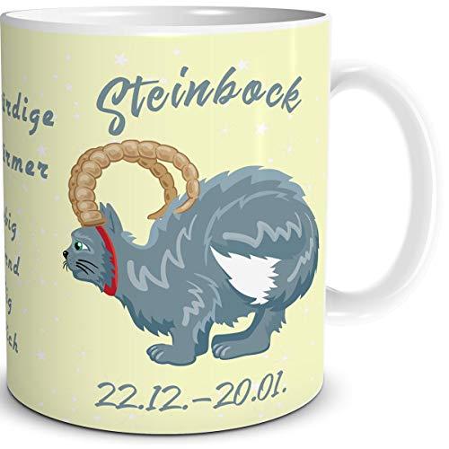 TRIOSK Tasse Katze lustig mit Spruch Sternzeichen Steinbock Katzenmotiv Geschenk Geburtstagstasse für Katzenliebhaber Frauen Freundin