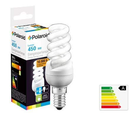 POLAROID Energiesparlampe E14,Mini full Spiral, 9W(42W) 2700K,450lm,220-240V