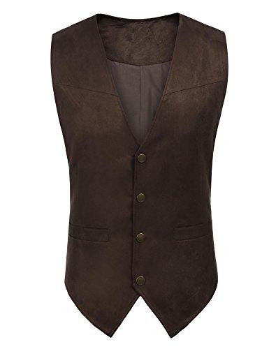 Herren Wildleder Weste Einreiher Weste Ärmelloses Slim Fit Lässige Weste Anzug (Cowboy Anzüge)