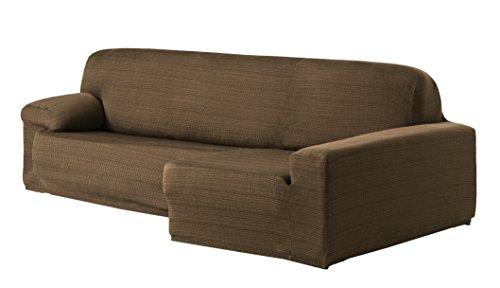 Eysa Aquiles Elastique Chaise Longue Droite, Vue Frontale, Polyester Coton, Marron, 43x37x14 cm