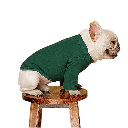PZSSXDZW Haustierhundekostüm Modisches T-Shirt Atmungsaktiv Bequem und weich Hundekleidung,Green,M -