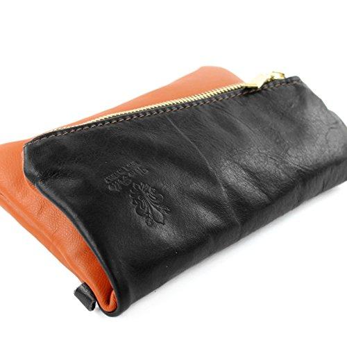 modamoda de - ital. Ledertasche kleine Damentasche Handgelenktasche Nappaleder T95 Camel/Dunkelbraun