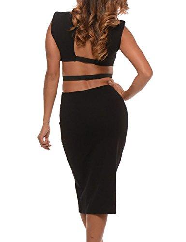 Dissa® D6943 femme mode robe midi Noir