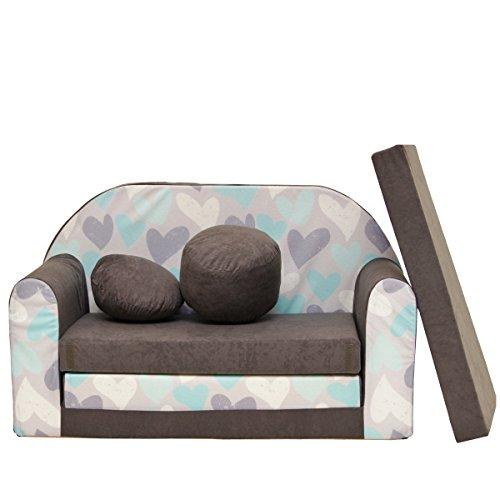 a49 enfants Canapé Lit Sofa Canapé Sofa Mini canapé 3 en 1 Baby Set + enfants Chaise et siège coussin + matelas Coeur Gris