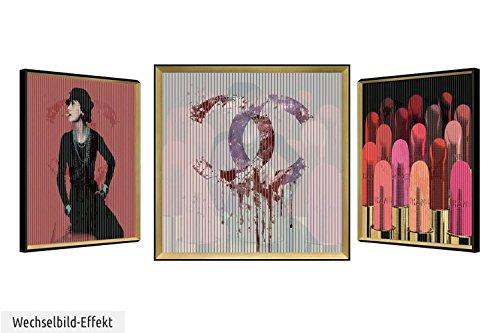 KunstLoft® cuadro lenticular 3D 'RougesàLèvres' 63x63cm | Cuadro hecho a mano con aspecto vintage | Barra de labios mujer maquillaje rojo | Imagen pared lenticular con marco