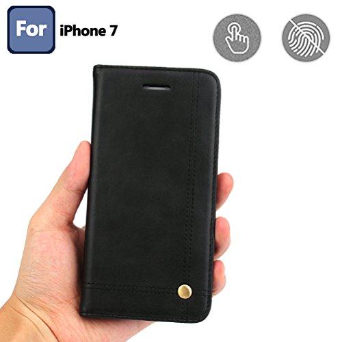 Coque iPhone 7, Coque iPhone 8, Housse étui Cuir Portefeuille avec Horizontale Rangements de Cartes et Fermeture Aimanté, pour Apple iPhone 7 2016 / 8 2017 - Red Noir