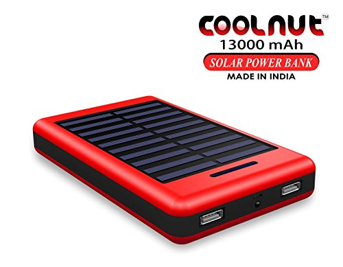 COOLNUT High Performance Solar 13000 mAh Best Power Bank For All Smartphones (Red, Black)