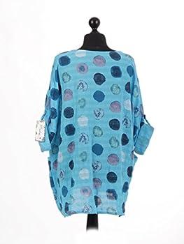 New Italian Ladies Women Lagenlook Polka Dots Cotton Tunic Top Plus Size 16-24 (Turquoise) 3