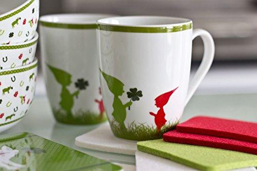 ebos Untersetzer aus echtem Woll-Filz ✓ 4er Set✓ ohne Motiv | mit Glücksbringer band | Für Gläser, Tassen und Vasen geeignet (grün)