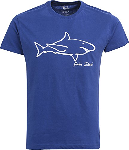 John Shark Tshirt Mens Designer Premium England Branded Blue Black White Green Red (L, Royal Blue)