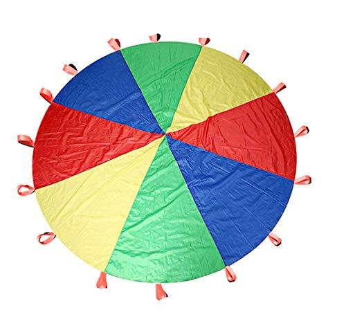 (Keeppy 12ft Kids Large Regenbogen-Fallschirm-Überdachung mit 16 Griffen Kindergarten-Spielübungen)