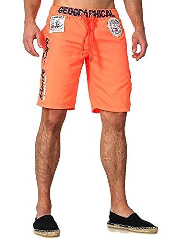 Geographical Norway Shorts Badeshorts Herren Männer kurze Hose Bestickt Gummizug Patches neon-orange XL