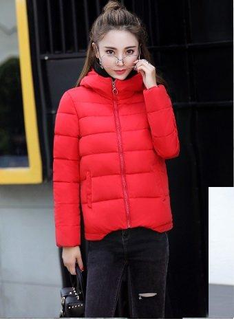 WTUS - Hiver - Chaud - Manches Courte- Manteau Simple Sauvage - Femme Rouge